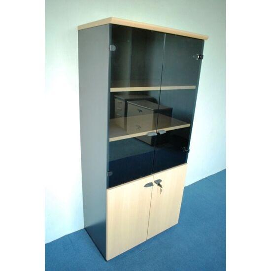 Litera furnér felül üveg alul furnér nyílóajtós szekrény     JJ-36
